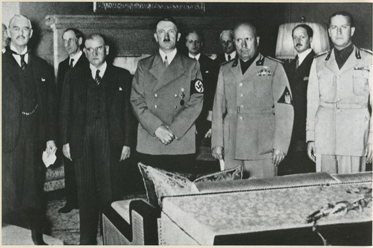From left to right (front): Chamberlain, Daladier, Hitler, Mussolini, and Ciano pictured before signing the Munich Agreement, Sept 30, 1938.