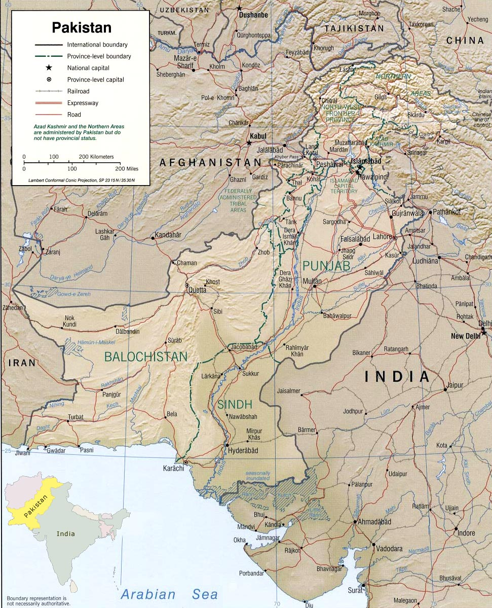 international map of india and pakistan relationship