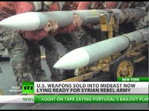 A screenshot of the RT report on US military supplies to Syrian terrorist groups.