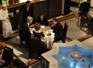 Syrian president having family dinner with the Kerry's, Damascus, January 2009