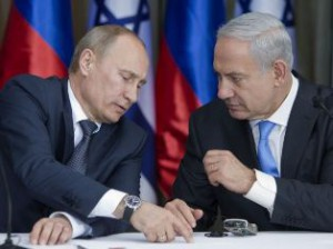 Russian President Vladimir Putin and Israeli PM Netanyahu during talks in Sochi, May 2013