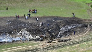 U.S. Air Force KC-135 tanker plane crash spot in northern Kyrgyzstan.