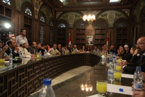 Meeting in the old city of Damascus with a Mussalaha activists.  The group involves people from all faiths.
