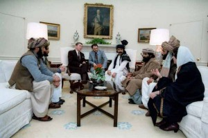 U.S. President Ronald Reagan meets the Mujahideen at the White House, 1985.
