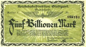 5 billion marks banknote, Germany, 1923.