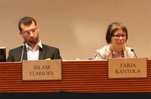 Website administrator and Kavkaz Center's chief editor Islam Matsiev, the man who has addressed the Finnish parliament under the fictitious name of Islam Tumsoev, speaking at the press-conference organized by Mikael Storsjo and Heidi Hautala in support of Doku Umarov and his Kavkaz Center. By his side - Tarja Kantola, the Foreign Ministry's advisor.