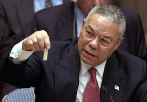 Colin Powell holding a model vial of anthrax while giving a presentation to the United Nations Security Council. Source: Wikipedia.org