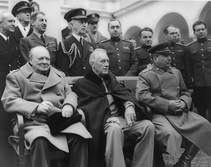 Winston Churchill, Franklin D. Roosevelt and Josef Stalin at the Yalta Conference in 1945. Source: US Library of Congress/wikipedia.org