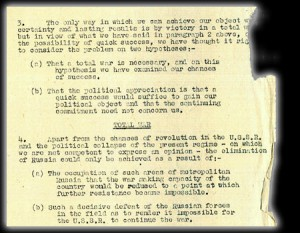 Part of a report from British military leaders to the Prime Minister, Winston Churchill, regarding a plan called 'Operation Unthinkable' - a surprise attack on the USSR, 1945