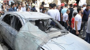 The site of a bomb attack in Damascus, Syria