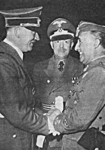 "A meeting between Franco and Hitler on the Spanish-French border, 1940. The Spanish dictator refused to fight on behalf of his German and Italian ""benefactors"" in the Second World War, because he owed his debt of gratitude for his seizure of power to entirely different nations."