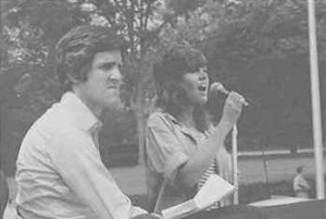 Future US Secretary of State John Kerry is preparing to speak at the Vietnam Veterans anti-war rally in 1971.