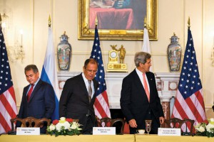The meeting between the Russian ministers of defense and foreign affairs, Sergei Shoygu and Sergei Lavrov, and their American counterparts, John Kerry and Chuck Hagel, was very productive, thus Barack Obama's decision to cancel his meeting with Vladimir Putin was unexpected. Photo: EPA