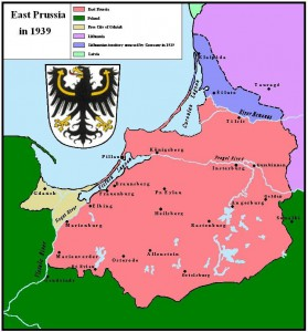 East Prussia after the ultimatum took force; the Klaipėda Region/Memelland is depicted in blue and East Prussia in pink.