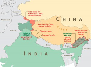 Map of the disputed territories in Himalayan. Source: The American Interest.