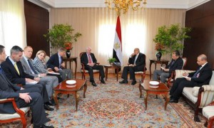 Then Interim Vice President Mohamed Elbaradei, center right, meeting with U.S. senators John McCain, center left, and Lindsey Graham, fifth from left, with U.S. Ambassador to Egypt Anne Patterson, fourth from left, in Cairo, Egypt, Tuesday, Aug. 6, 2013. In a week Elbaradei left his post. (photo credit: AP Photo/Egyptian Presidency)