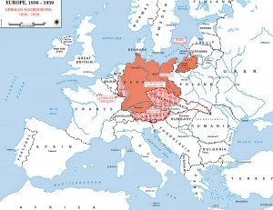 Europe and German Annexions Map 1936-1939. Source: http://www.emersonkent.com