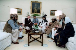 President Reagan meeting with Afghan Mujahideen leaders in the Oval Office in 1983.