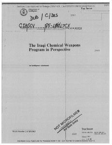 Cover page of one of the CIA's declassified reports on Iraqi Chemical Weapons, January 1985.