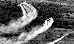 US Air Force planes spray the defoliant chemical Agent Orange over dense vegetation in South Vietnam in 1966. Photograph: Associated Press