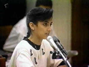 Nayirah al-Ṣabaḥ, a daughter of the Kuwaiti ambassador to the United States, giving her false testimony on October 10, 1990.