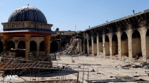 Destroyed minaret of the ancient Umayyad Mosque in Aleppo.