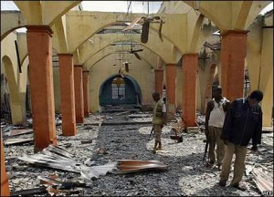 Easter season violence in troubled central Nigeria left as many as 80 people dead and displaced some 4,500 others. Phote: a destroyed Christian church in Nigeria.