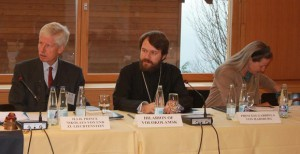 H.S.H. Prince Nikolaus of Liechtenstein, H.E. Metropolitan Hilarion of Volokolamsk and H.R.H. Archduchess Gabriela von Habsburg attending the colloquium on Syria. Source: Orontes Syria