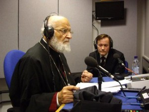 Patriarch Gregorios III of Antioch with John Pontifex (Aid to the Church in Need) for interview at BBC's Today radio programme