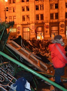 Barricades in the centre of Kyiv, December 6, 2013