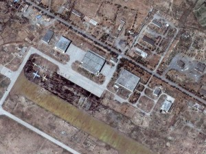 Satellite photo of the US air base Bagram in Afghanistan. A large number of transport aircrafts being loaded by unidentified cargo are clearly seen.