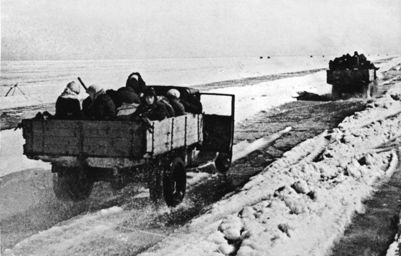 Siege survivers being evacuated via the Road of Life on Ladoga Lake, the only connection link to the Russian-controlled territory.