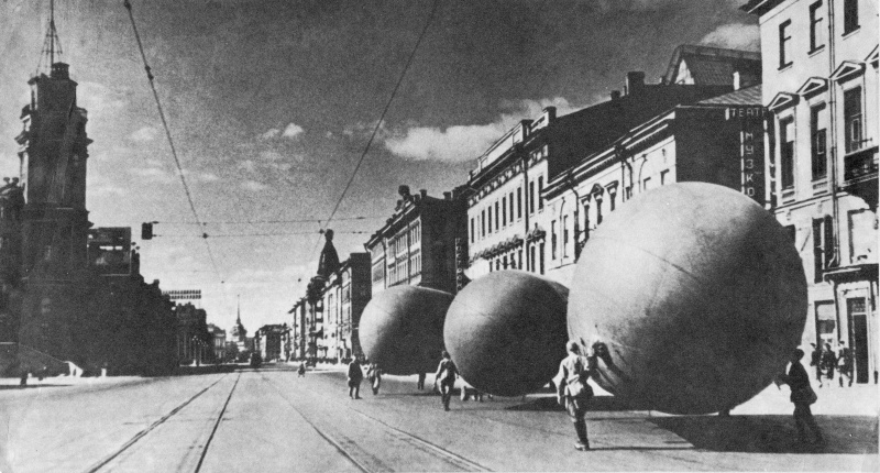 Barrage balloons on Nevsky Avenue