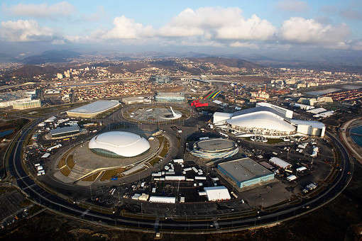 Aerial view on Sochi Olympic Park at the Coastal Cluster.