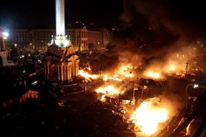 "Burning Central Kiev in the new stage of ""Eurointergation"", February 2014."