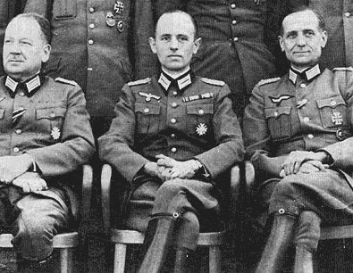 Stepan Bandera (in the centre) in Nazi uniform. OUN-B is responsible for the organized genocide of Polish civilians in Volhynia and Eastern Galicia.
