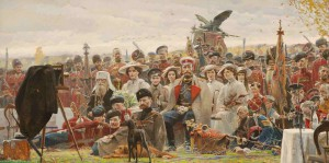"Pavel Ryzhenko ""A photo in memoriam"" painting (2007) depicting the last Russian Emperor Nikolay II with family visiting a military camp during WWI."