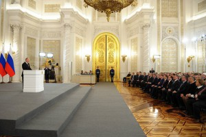 Vladimir Putin delivering his address on reunification with Crimea. Source: Kremlin.ru