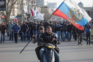 Pro-Russian demonstrators in Donetsk, Eastern Ukraine.