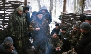 Dmytro Yarosh with combatants