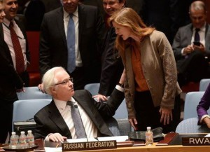 "The US Ambassador to the UN Samantha Power screaming at the Russian counterpart Vitaly Churkin after Russia has blocked the US draft resolution ""on situation in Ukraine"" at the Security Council meeting on March 15, 2014."