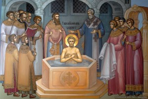 Baptism of Holy Grand Prince Vladimir in Chersonesus in 988 AD (icon).