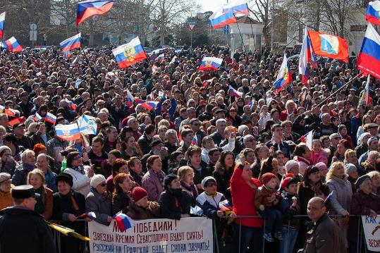 Crimeans celebrating reunification with Russia, March 18, 2014.