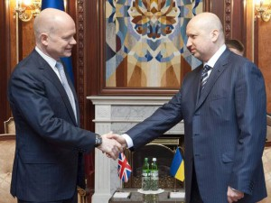 British Foreign Secretary William Hague meeting with Olexander Turchinov, acting head of Ukrainian state, Kiev, Mar 3, 2014.