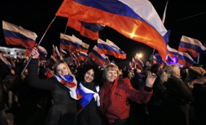 Solidarity with Crimea manifestation in Saransk, Mordovia, Russia, March 18, 2014.