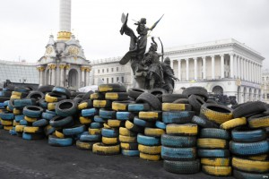 Independence Square (Maidan) in Kiev still occupied by the protesters.