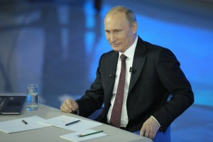 Vladimir Putin during Direct Line, Moscow, April 17, 2014