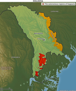 Transnistria (orange) and Gagauzia (red) are pro-Russian regions in Moldova (photo courtesy of Stratfor)