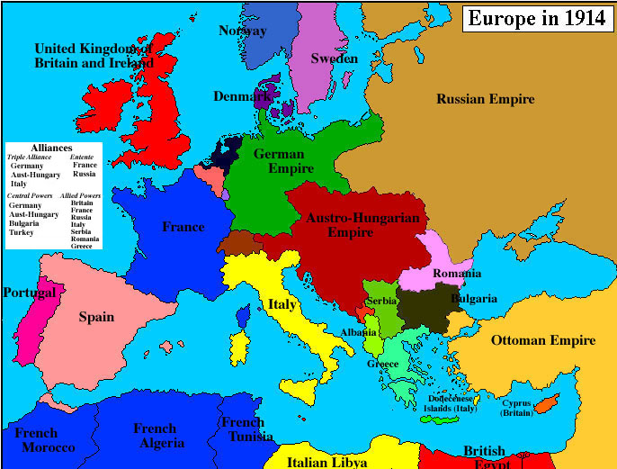 Where can you find a map of Europe in 1914?