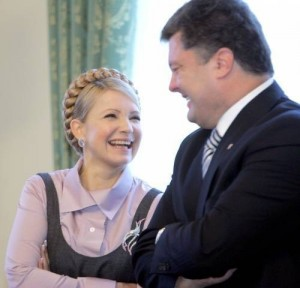 Yulia Timoshenko and Petro Poroshenko - implacable rivals in ongoing farse presidential campaign in Ukraine.